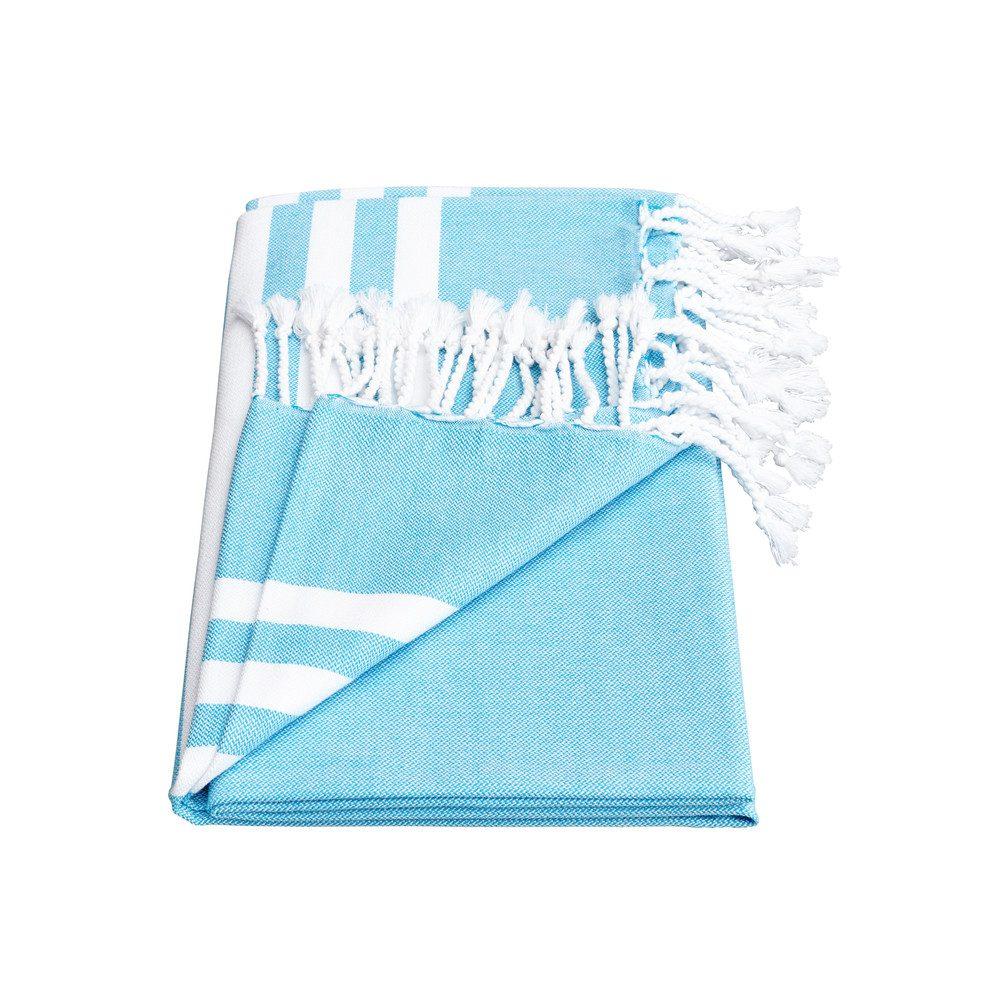 Esra Three Striped Towel - Fresh Blue