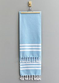 HAMMAMHAVLU Esra Three Striped Towel - Fresh Blue