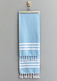 HAMMAMHAVLU Esra Three Striped Towel - Fresh Blue