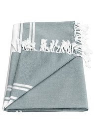 HAMMAMHAVLU Ziya Silver Lurex Stripe Towel - Smoke Grey