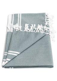 HAMMAMHAVLU Ziya Silver Lurex Stripe Towel - Smoke Grey