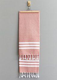 HAMMAMHAVLU Esra Three Striped Towel - Paprika
