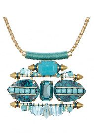 Butterfly Brick Lane Statement Necklace - Turquoise & Gold