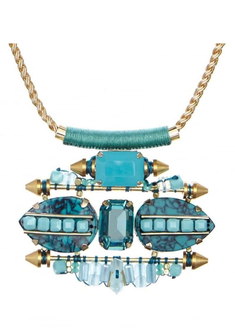 Butterfly Brick Lane Statement Necklace - Turquoise & Gold main image