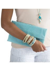 Butterfly Brick Lane Beaded Buckle Bracelet - Aqua & Gold