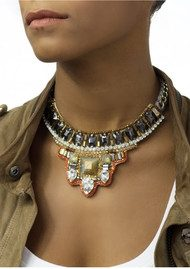 Butterfly Columbia Road Short Trendy Necklace - Orange & Bronze