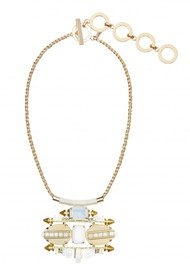 Butterfly Chelsea Harbour Statement Necklace - White & Gold