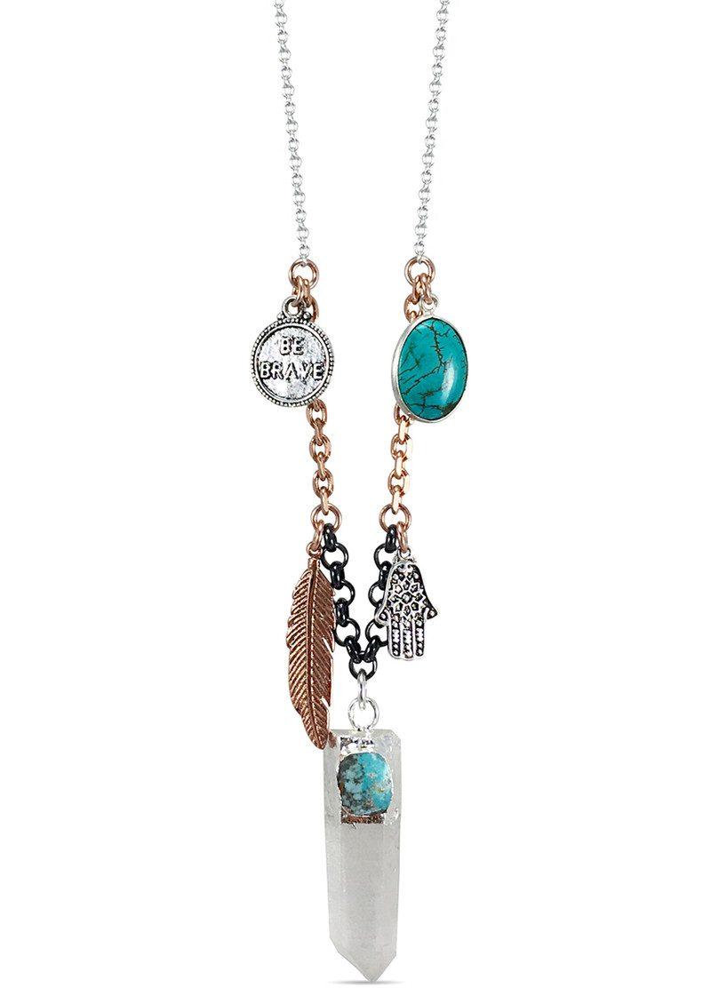 BRAVE LOTUS Crystal Quartz Charm Necklace - Rose Gold & Silver  main image