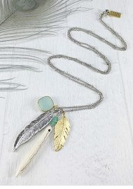BRAVE LOTUS Multi Feather Cluster Necklace - Silver & Aqua
