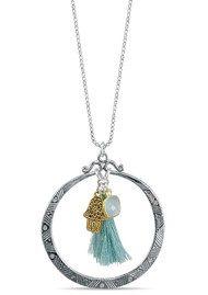 BRAVE LOTUS Eclipse Hamsa Hand Tassel Necklace -  Silver