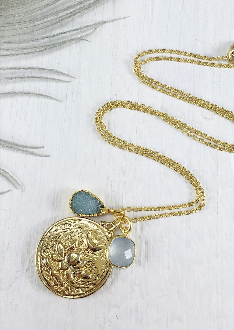 BRAVE LOTUS Flowering Lotus Cluster Necklace - Gold main image