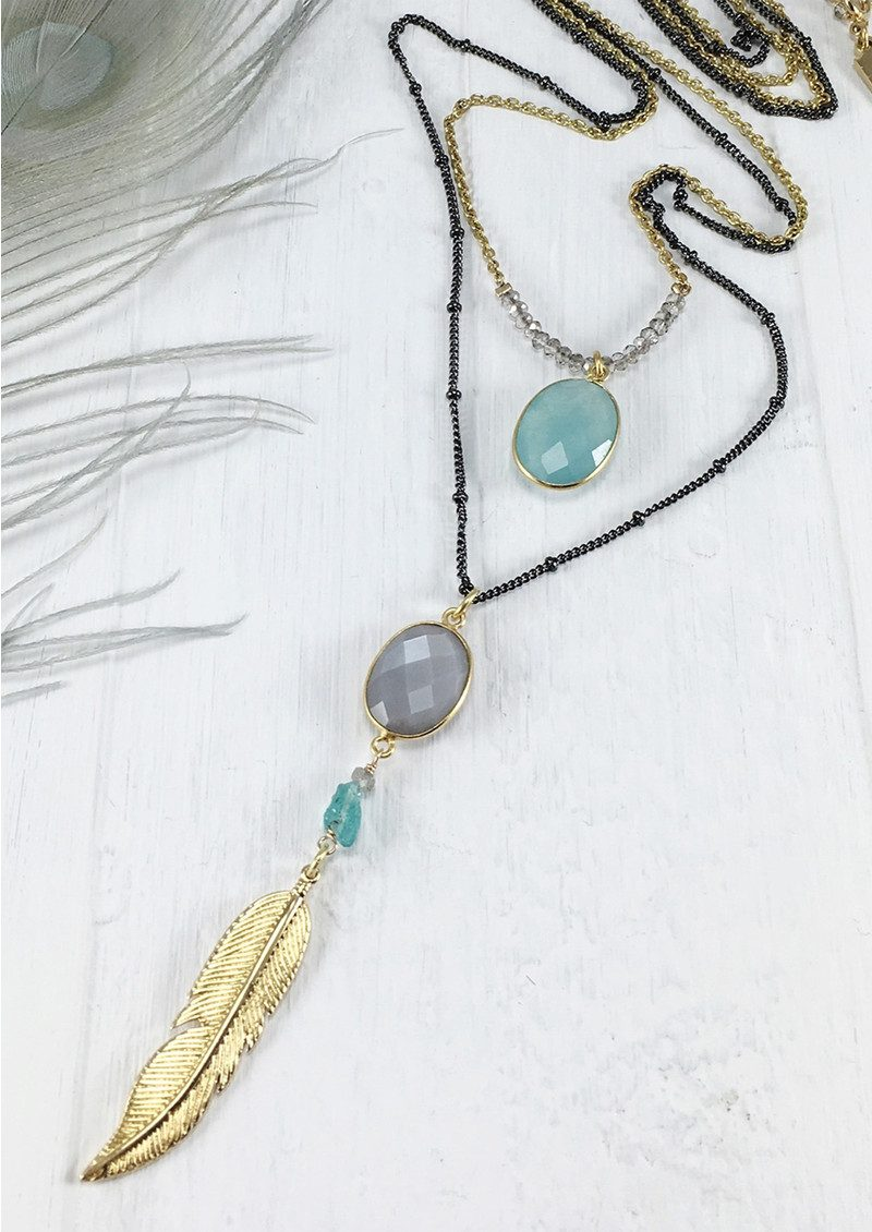 BRAVE LOTUS Double Layer Jewelled Necklace - Gold main image