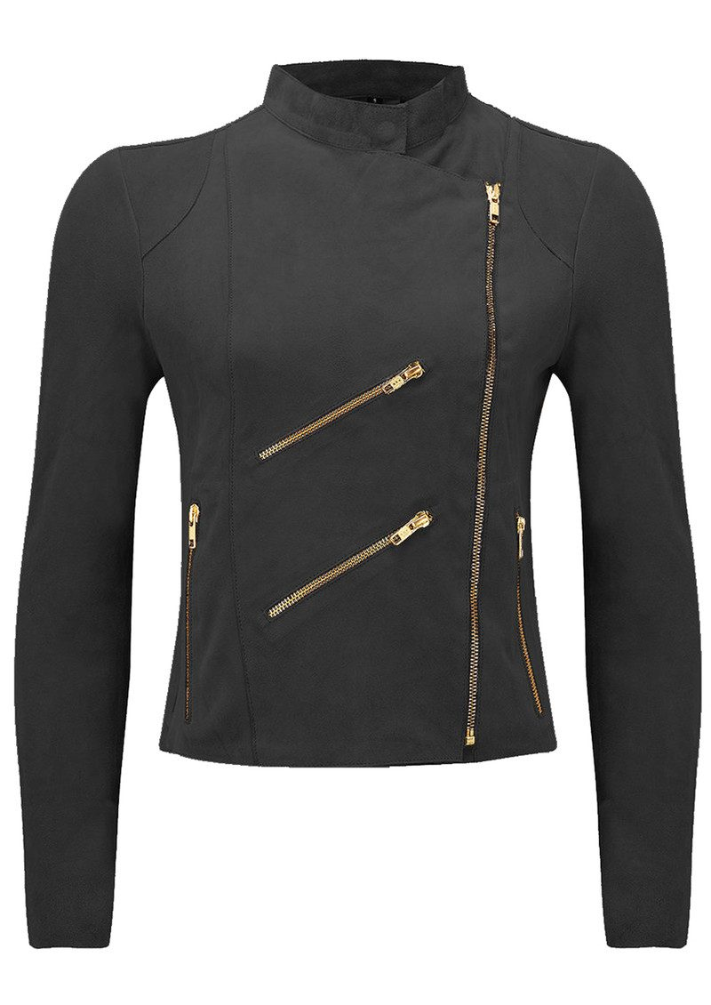 FAB BY DANIE Paris Suede Jacket - Barely Black main image