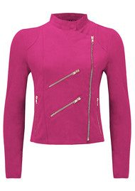 FAB BY DANIE Paris Suede Jacket - Hot Pink