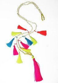 TRIBE + FABLE Multi Tassel Necklace - Neon