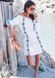 PAMPELONE Bardot Embroidered Dress - White & Navy