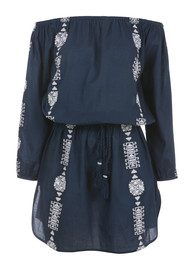 PAMPELONE Bardot Embroidered Dress - Navy & White