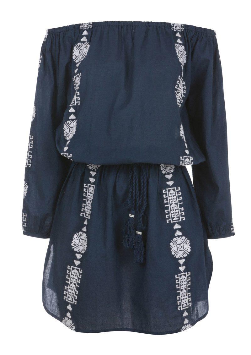 PAMPELONE Bardot Embroidered Dress - Navy & White main image