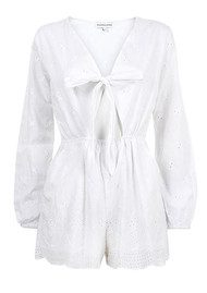 PAMPELONE Blanco Cotton Playsuit - White