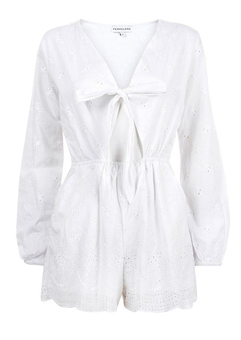 PAMPELONE Blanco Cotton Playsuit - White main image