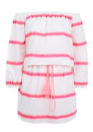 PAMPELONE Bardot Stripe Dress - Pink