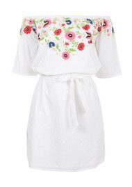 PAMPELONE Eivissa Mini Embroidered Dress - White