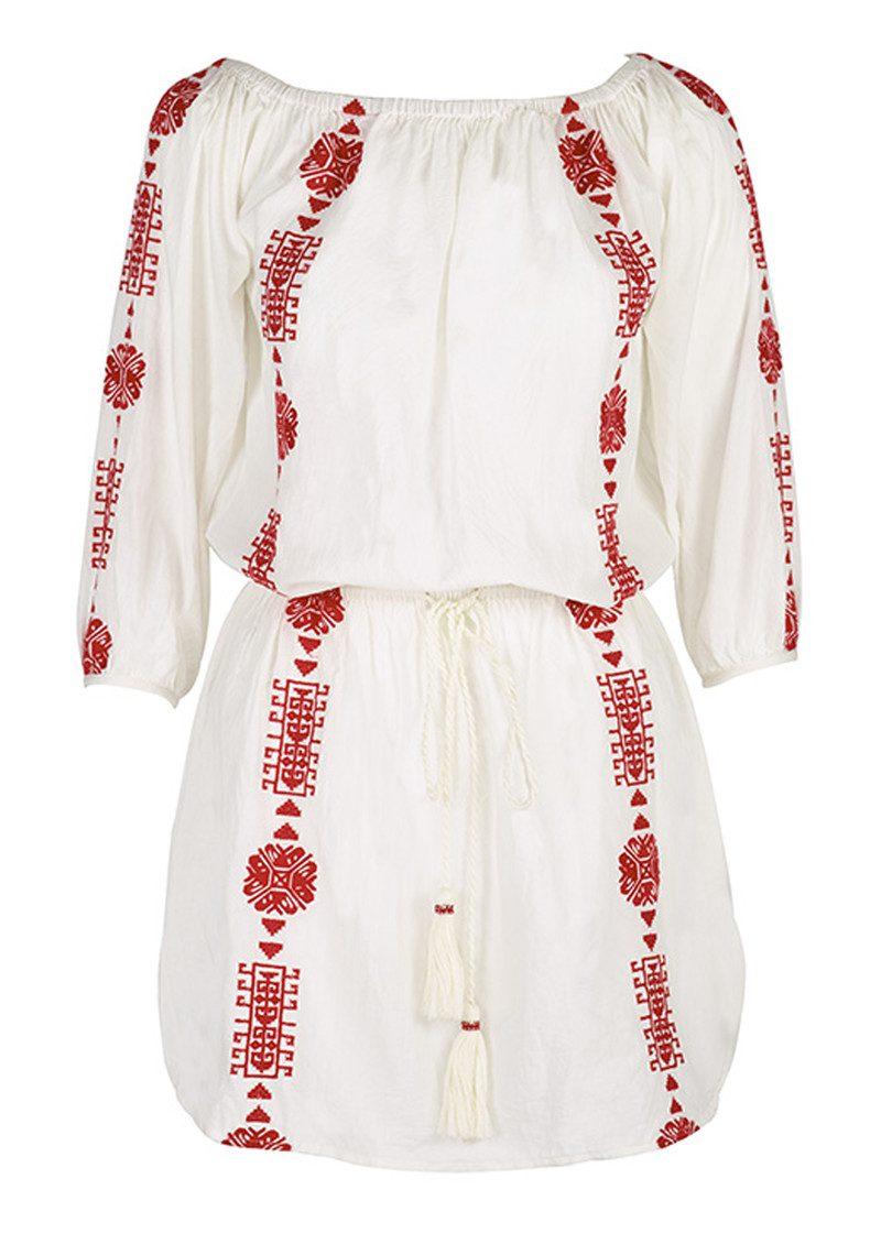 PAMPELONE Bardot Embroidered Dress - White & Red main image