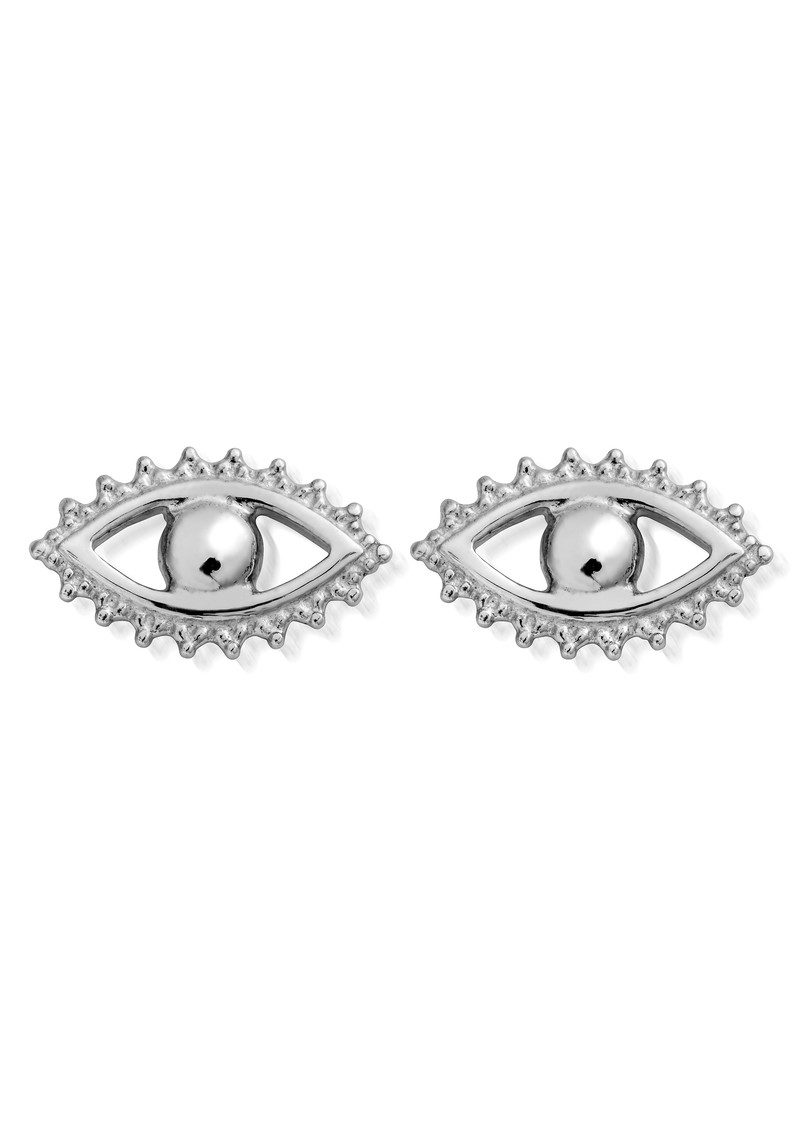 Evil Eye Stud Earrings - Silver main image
