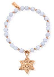 ChloBo Sun & Star Bracelet - Rose Gold & Blue Lace Agate