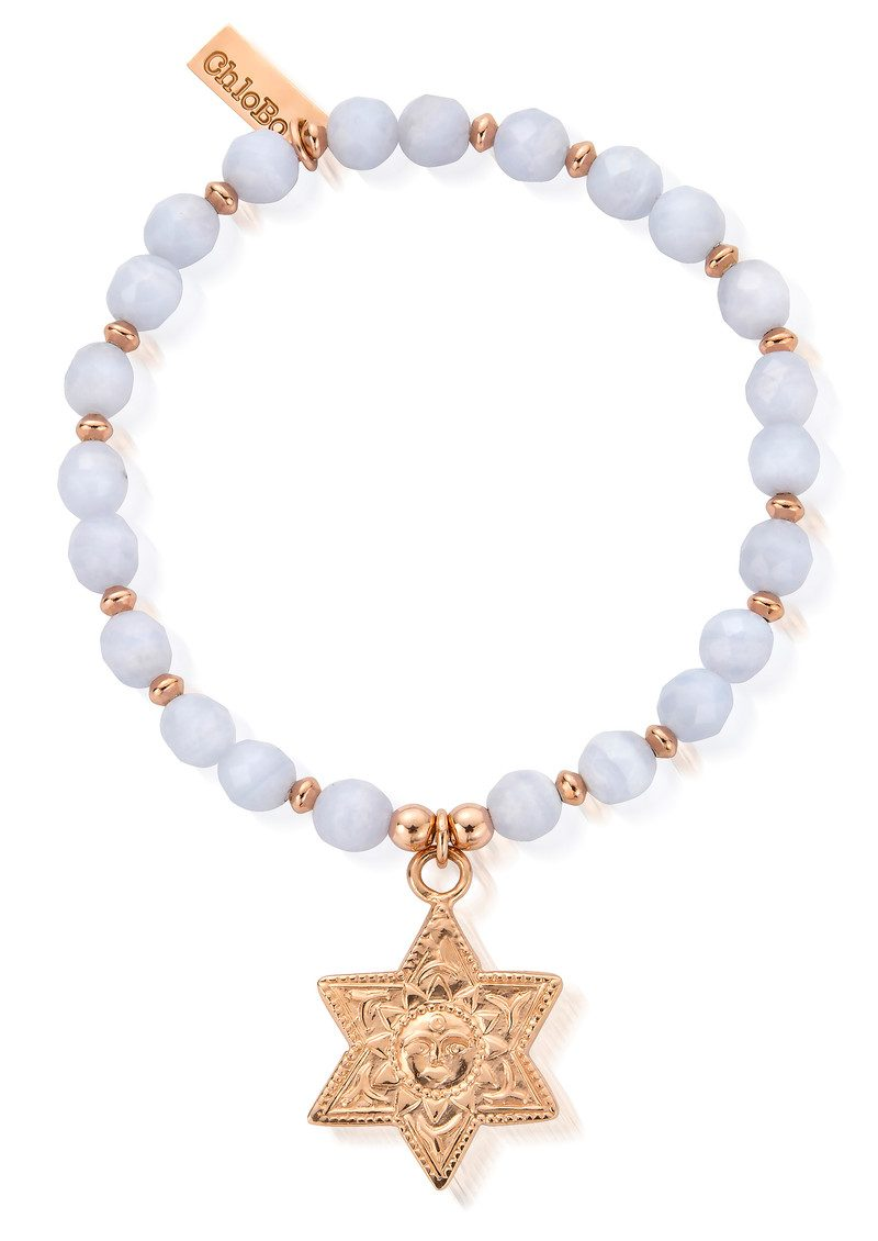 Sun & Star Bracelet - Rose Gold & Blue Lace Agate main image