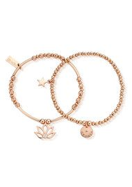 ChloBo Lotus Set of 2 Bracelets - Rose Gold