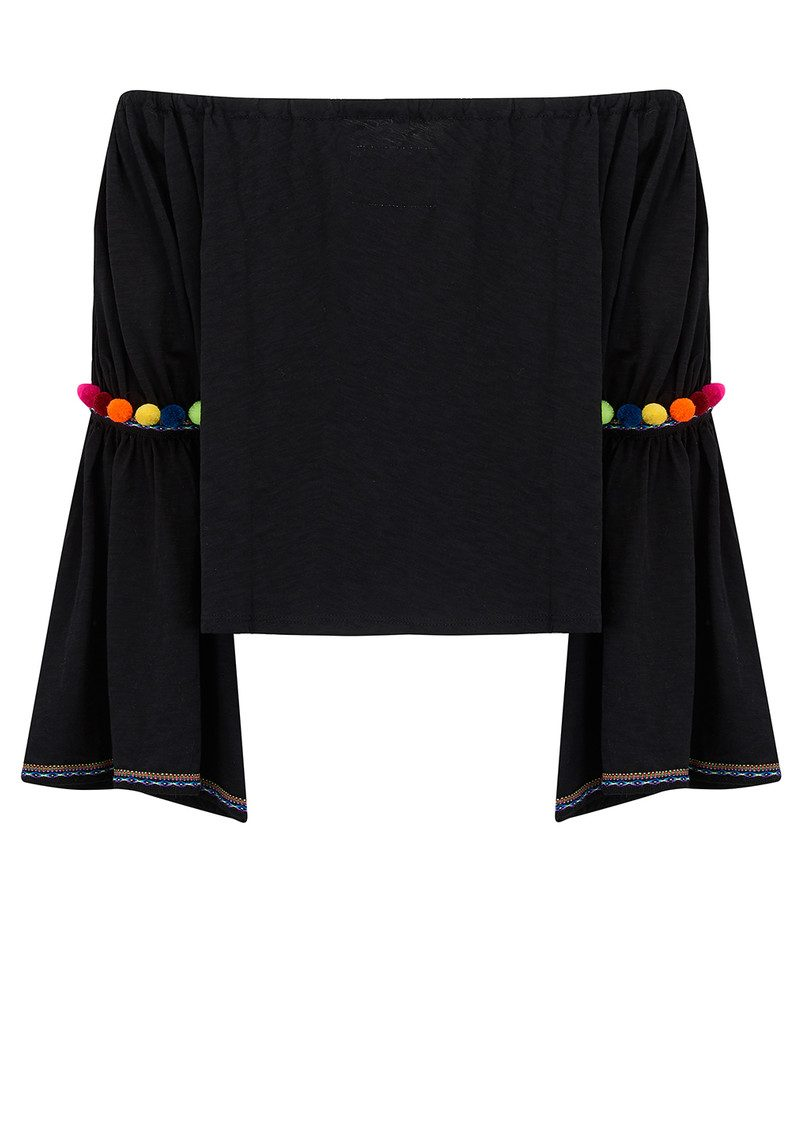 PITUSA Pom Pom Crop Top - Black main image