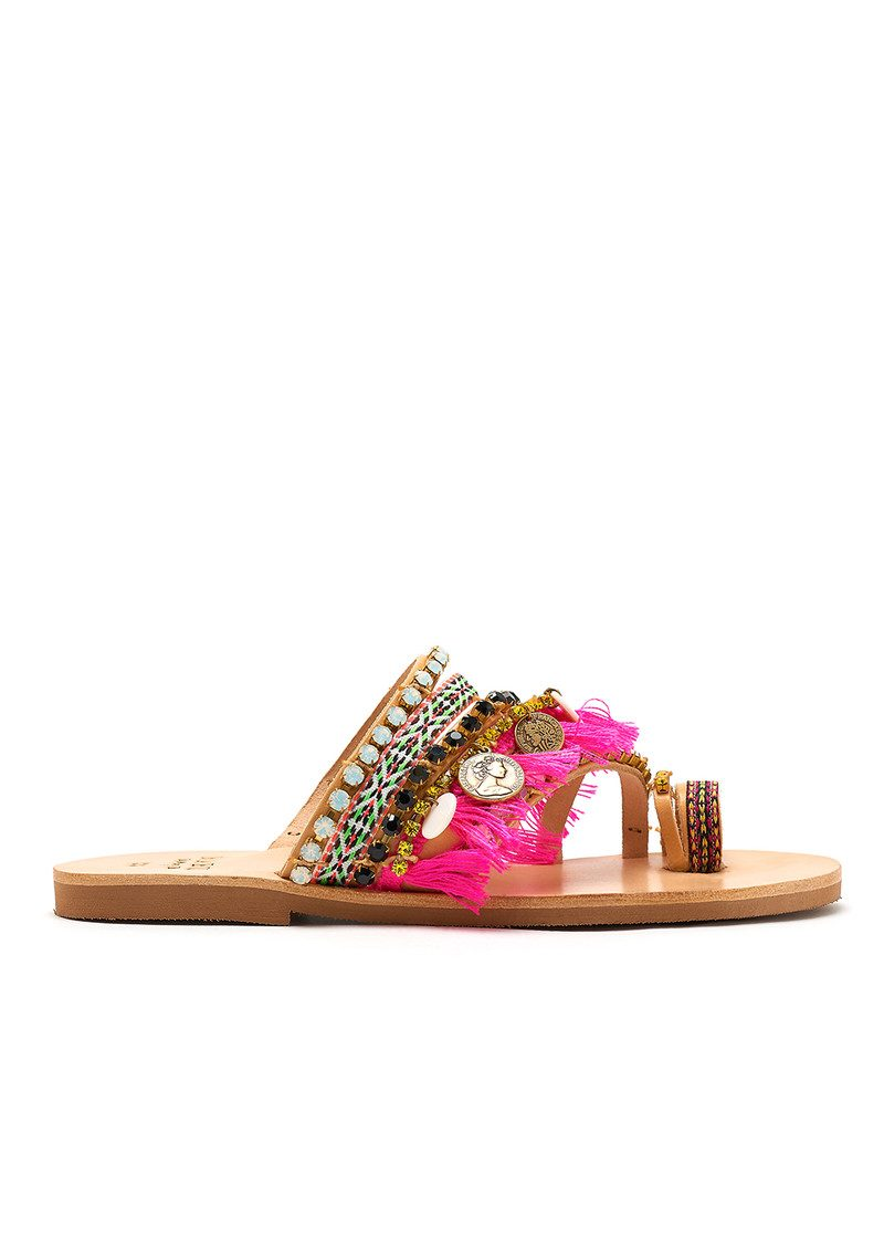 MABU Rosetta Coin Sandals - Multi Pink main image