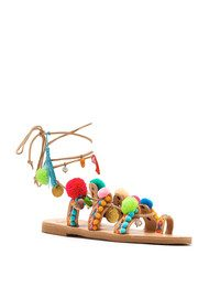 MABU Misty Pom Pom Wrap Sandals - Multi