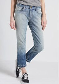 Current/Elliott The Cropped Straight Jean - Indigo Ombre with Released Hem