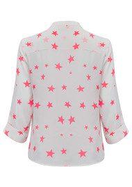 Pyrus Star Print Shirt - White & Neon
