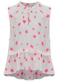 Pyrus Star Print Top - White & Neon