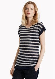 Great Plains Lattice Stripped Tee - Classic Navy