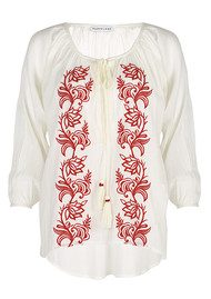 PAMPELONE Graniers Blouse - White & Red