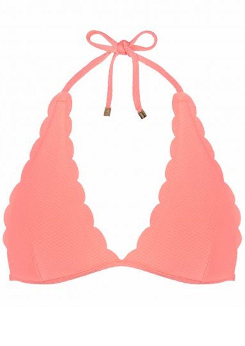 HEIDI KLEIN Capri Scallop Triangle Bikini Top - Neon Coral main image