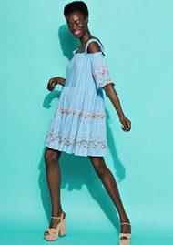 Essentiel Nawai Embroidered Dress - Blue