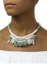 Butterfly Mayfair Short Necklace - Light Green & White