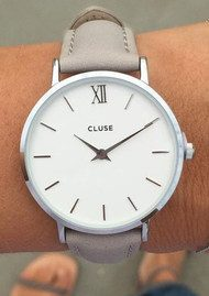 CLUSE Minuit Silver Watch - White & Grey