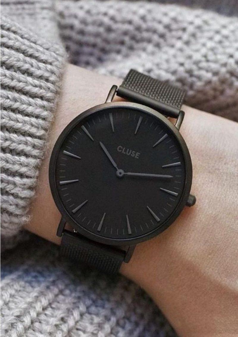 Extrêmement CLUSE La Boheme Mesh Watch - Black & Black SE29
