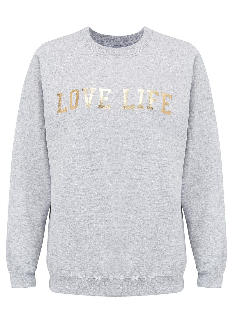 ON THE RISE 'Love Life' Sweatshirt - Grey & Gold main image