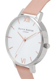 Olivia Burton Big Dial White Dial Watch - Dusty Pink, Silver & Rose Gold