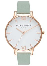 Olivia Burton Big Dial White Dial - Mint & Rose Gold