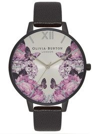Olivia Burton After Dark Floral Watch - Matte Black & Silver