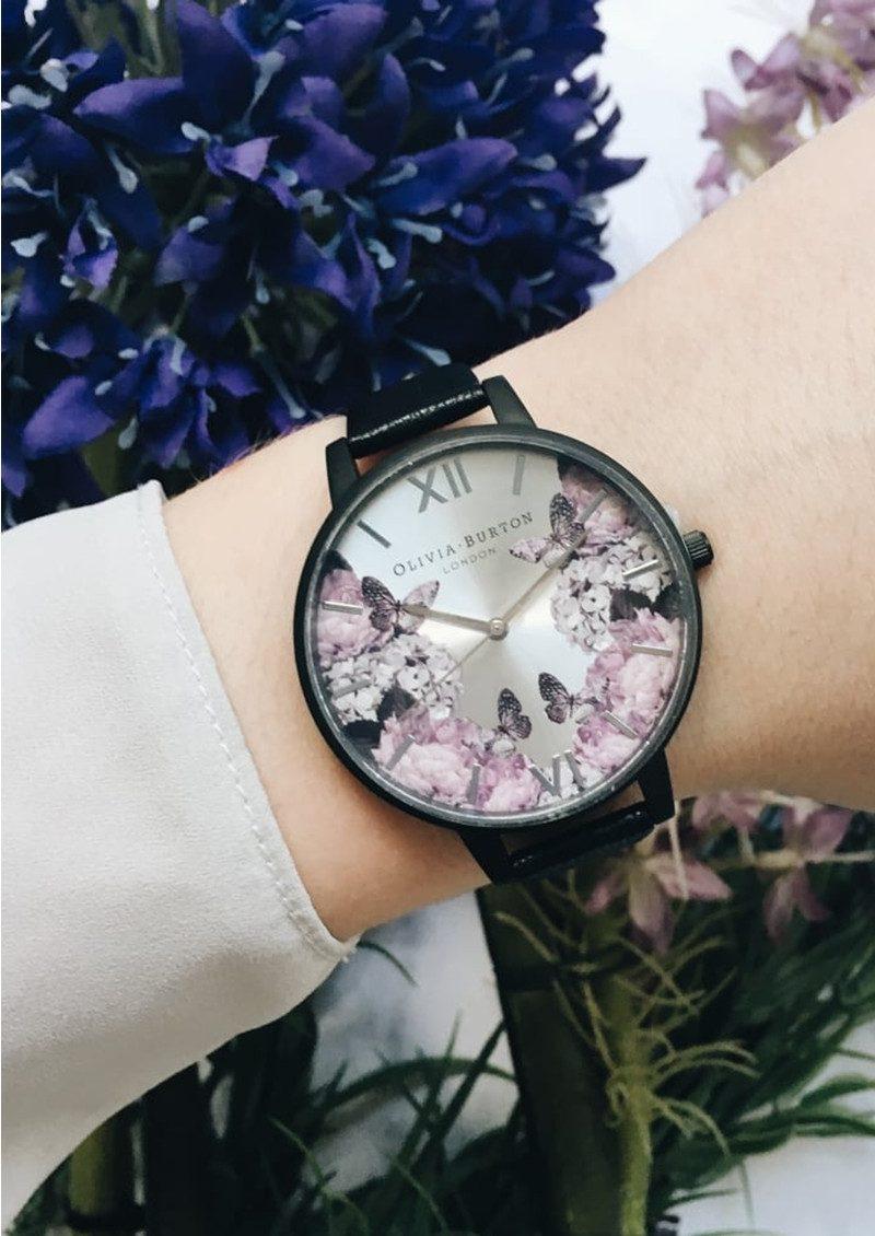 Olivia Burton After Dark Floral Watch - Matte Black & Silver main image