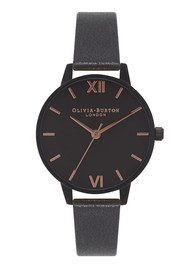 Olivia Burton After Dark Watch - Matte Black & Rose Gold